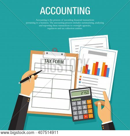 Vector Illustration Of Office Table Top View Of An Accountant Calculating Tax. Suitable For Backgrou