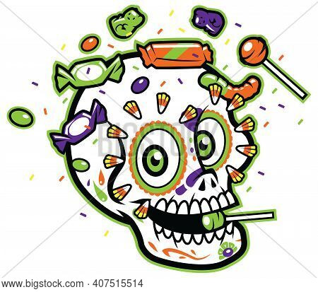 Calavera Sugar Skull On White Background, Surrounded By Candy.