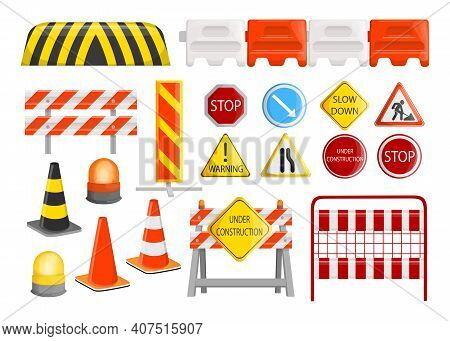 Traffic Barriers Collection. Roadblocks, Barricades, With Warning Alert Signs For Road Construction