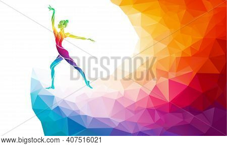 Creative Silhouette Of Gymnastic Girl. Art Gymnastics, Colorful Vector Illustration With Background