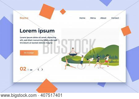People Leading Active Lifestyle With Text Sample. Flat Cartoon Characters Doing Exercises In Fresh A
