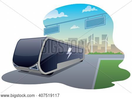 Vector Illustration Of Electric Bus On The Road.