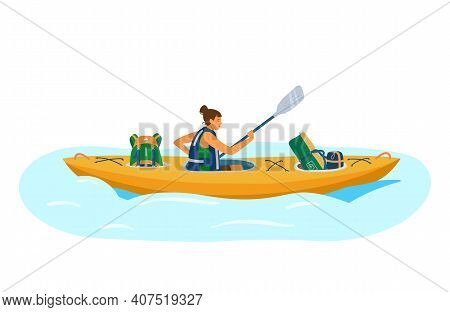 Woman In Life Jacket Rows In Kayak With Tourist Equipment.  Backpack, Sleeping Bag, Tent. Tourist In