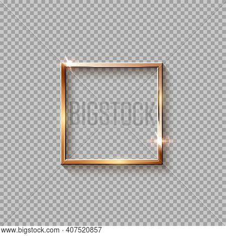 Golden Square Frame For Picture Isolated On Transparent Background. Blank Space For Picture, Paintin