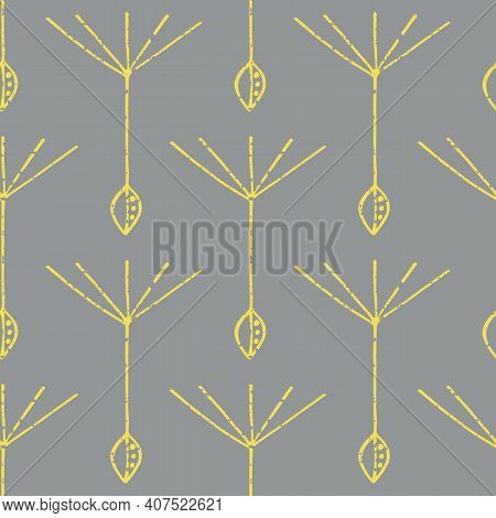 Dandelion Seed Seamless Vector Pattern Background. Backdrop Of Abstract Of Floating Herbacious Flowe