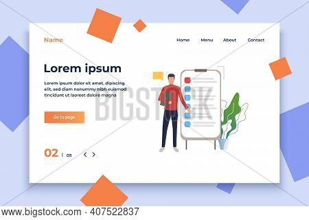 Man Standing At Flipchart With List Vector Illustration. Report, Instruction, To Do List. Business C