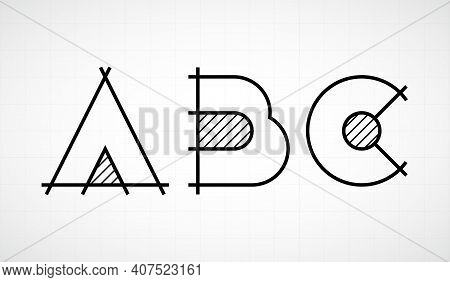 Architech Font. Letters Abc. Graphic Black And White Alphabet. Linear Drawing Alphabet For Banners,
