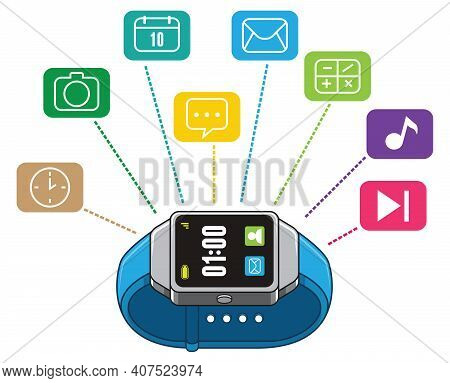 Electronic Smart Watch Innovation With Audio Video Communication Media Applications And Mobile Acces