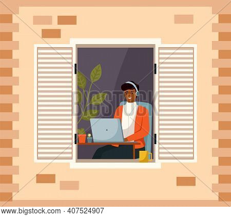 Woman Is Working With Laptop Near An Open Window In Her House. Young Girl Sits At The Table And Look