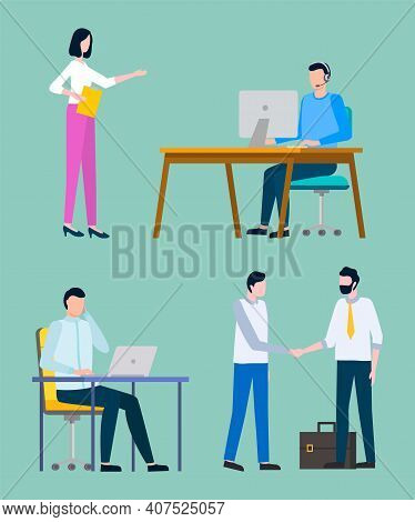 People Working In Office Vector, Man Sitting By Table With Laptop And Info, Lady Secretary Holding S