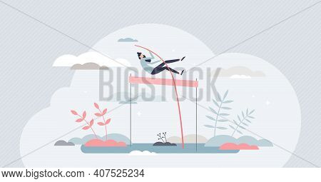Overcoming Obstacles And Jump Over Life Difficulties Tiny Persons Concept