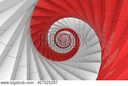 3d Rendering. Alternate White And Red Spiral Stairs Art Wall Background.