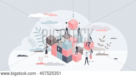 Solving Problem And Difficult Work Teamwork Assemble Tiny Persons Concept