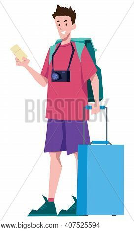 Traveler With Blue Suitcase And Green Backpack Is Waiting For Plane With Ticket In Hand.