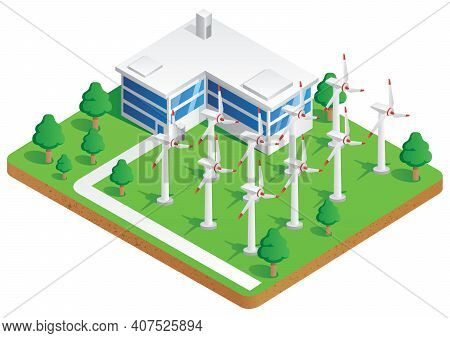 Illustration Of Wind Energy Plant Producing Electricity.
