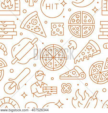 Pizza Delivery Orange Seamless Pattern. Vector Background Included Line Icons As Courier, Cheese, Hi
