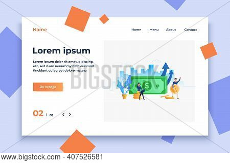 People And Banknote With Making Money Concept Vector Illustration. Profit, Earning, Saving. Banking