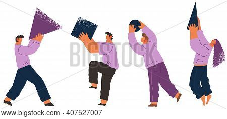 People Organizing Geometric Shapes Standing Isolated On White Background. Group Of Young Men Collect