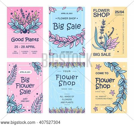 Sale Flyers With Flowers Set. Leaves, Buds, Sprigs, Plants Vector Illustrations With Text And Date.