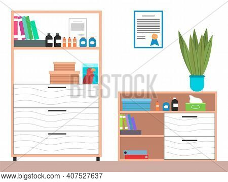 Interior Equipment Of A Veterinary Office White Cupboard With Shelves With Books And Medicines. Set