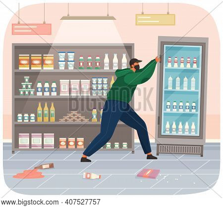 A Vandal Damages A Machine In A Grocery Store. Masked And Hooded Bandit Destroys Refrigerator. Stree