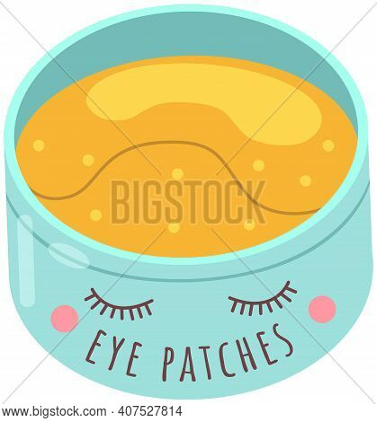 Hydro Gel Patches. Under Eye Skin Care Product. Yellow Beauty Pads In A Cute Cartoon Plastic Contain