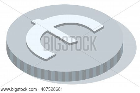 Silver Coin With Euro Sign Isolated On White With Shadow. Means To Pay For Goods And Purchases. Meta
