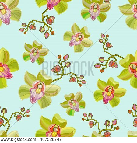 Watercolor Orchid Flowers Seamless Pattern. Hand Drawn Wallpaper Design. Repeating Texture With Flor