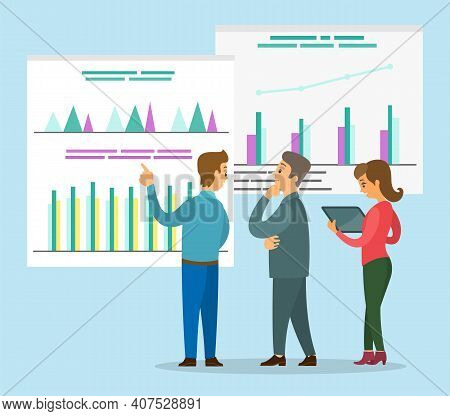 Businessmen Looking At Graphs On Boards. Man Presenting Financial Plan To Thoughtful Investor. Worke