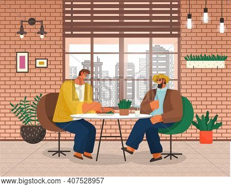 Two Men Friends Sitting At A Table Eating In A Restaurant Illustration. Stylish Male Characters Havi