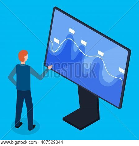 3d Isometric Vector Illustration. Office Worker Thinking, Looking At Screen With Vibrating Graphics,