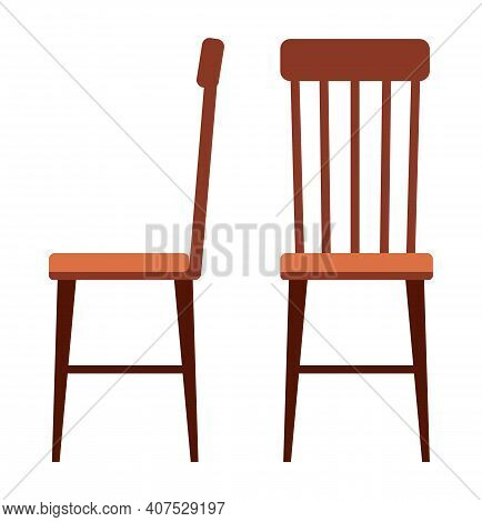 Realistic Wooden Chair Isolated On The White Background. A Piece Of Furniture For Interior Design. F