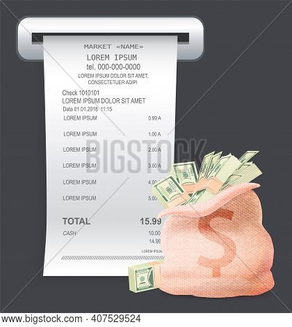 Payment Check Paper Document Poked Out Of The Cash Register Near A Bag With Bills And Dollar Sign Is