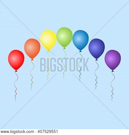 Colorful Balloons Arch. Birthday Baloons For Party And Celebrations. Isolated On White Background. V