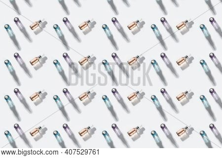 Bottle Of Cosmetic Product Oil Or Hyaluronic Acid On A White Background, An Image For Cosmetic Medic