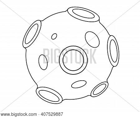 Asteroid - Linear Vector Illustration For Coloring. Outline. An Asteroid Or Planetoid Covered With C