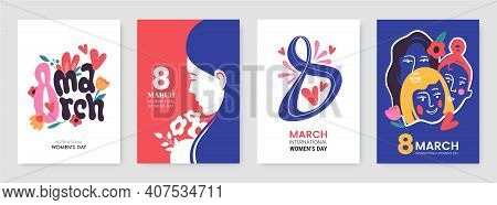 International Womens Day Greeting Card Collection In Different Styles. 8 March Posters Design With L
