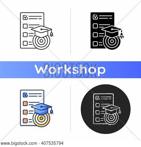Workshop Goals Icon. Achievements Of Goals. Formation Of A Strategy Subject To Prioritization. Train