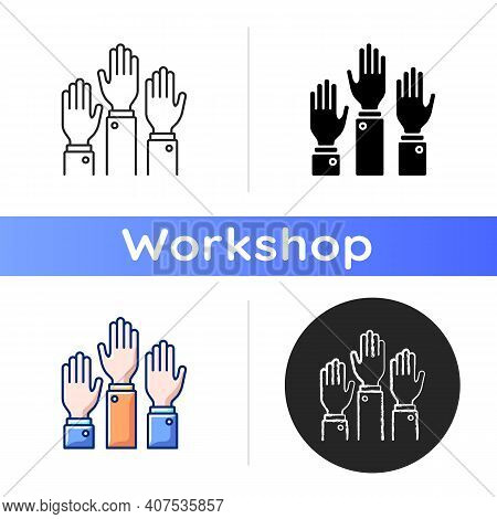 Participation Icon. Taking Part In Proffesional Workshops. Active Position. Hands Raised Up. Trainin