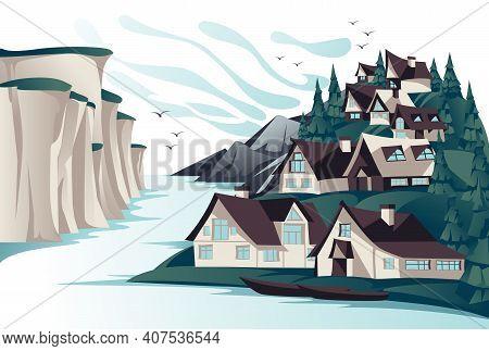 Traditional North Village On The Rock Coast Summer Openspace Landscape. Cartoon Vector Illustration.