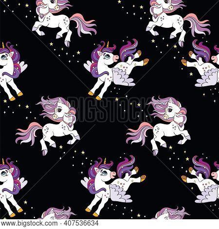 Cute Running And Flying Unicorns With Stars On Black Color. Vector Seamless Pattern. Colorful Illust