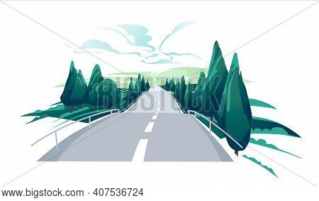 Emty Road To The Hills. Scenic Summer Landscape With Asphalt Road Passing To High Hills. Traveling A