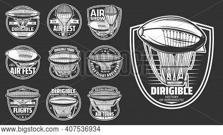 Dirigibles Airship And Balloon Aircraft Flight, Retro Vector Icons. Dirigible Or Zeppelin Vintage Tr