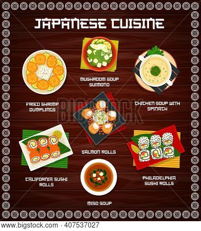 Japanese Cuisine Vector Menu Fried Shrimp Dumplings, Mushroom Soup Sumono And Chicken Soup With Spin