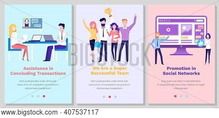 Set Of Illustrations About Website Landing Page About Business, Organizing Personnel. Promotion In S