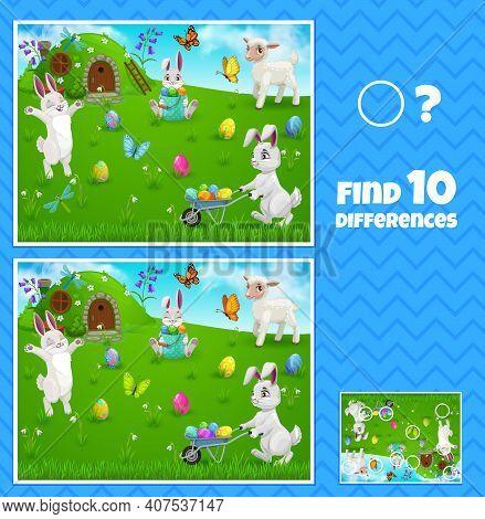 Easter Egg Hunt Bunnies Kids Game Of Find Ten Differences, Vector Children Education. Worksheet Temp