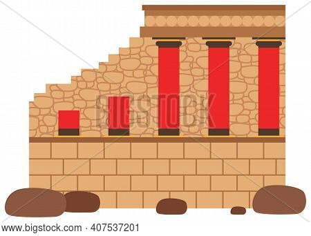 Medieval Dilapidated Castle With Columns Vector Illustration. Old Town In Greece And Castle. Histori