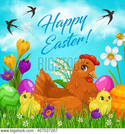 Easter Eggs And Chicks, Vector Easter Egg Hunt Holiday. Chicken And Chicks On Green Grass With Sprin