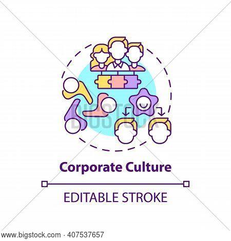 Corporate Culture Concept Icon. Worker Adaptation Elements. Strategic Tool Idea Thin Line Illustrati