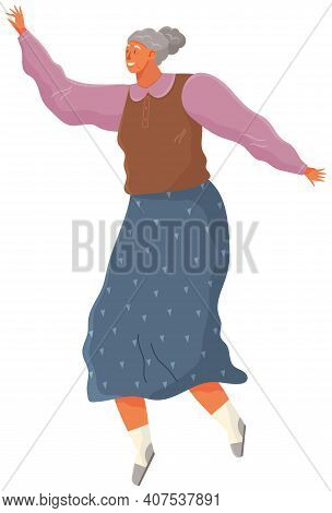 Cartoon Elderly Female Soaring And Flying In The Air Dreaming Person In Movement Pose Isolated On Wh
